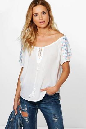 Emma Embroidered Sleeve Top