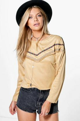 Eliza Tassel Trim Long Sleeve Top