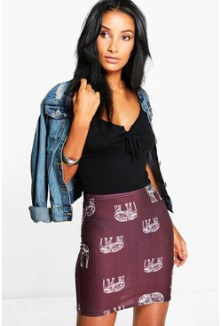 Nicole Elephant Print Mini Skirt