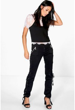 Lauren Lace Up Black Jeans