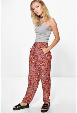 Phoebe Tie Waist Patterned Trouser