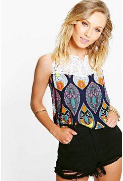 Katy Lace Insert Printed Vest Top