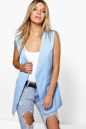 Lottie Sleeveless Tailored Duster Jacket