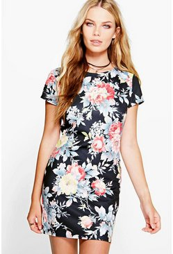 Lydia Scuba Floral Bodycon Dress