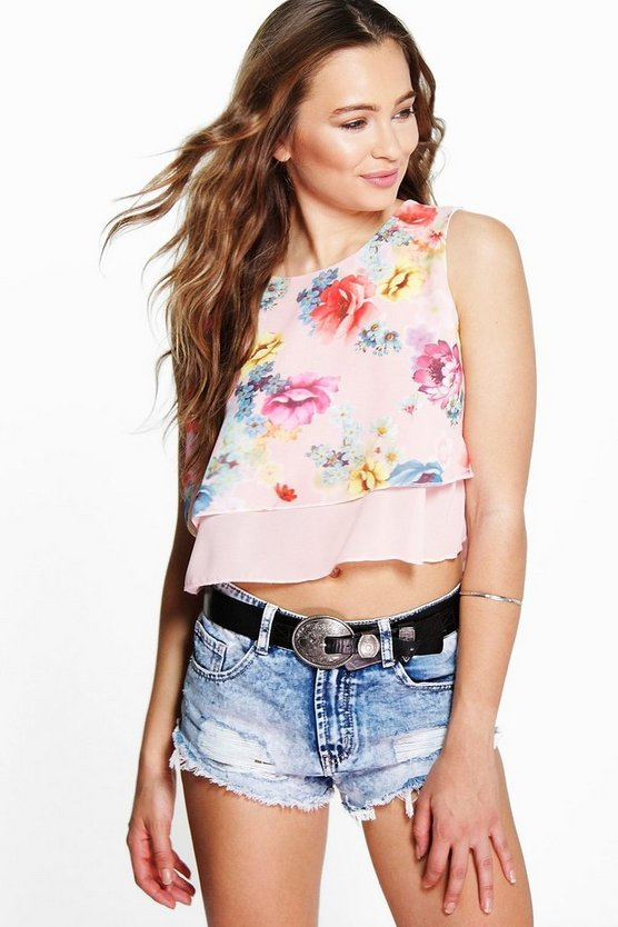 Lottie Crop Floral Floaty Top