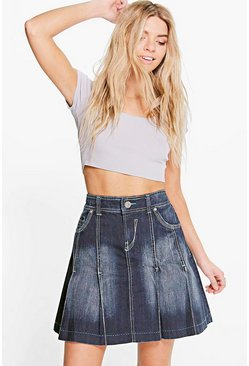Jasmine Pleated Denim Skirt