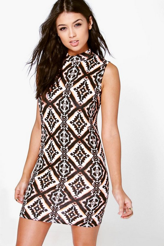 Savannah Aztec High Neck Mini Dress