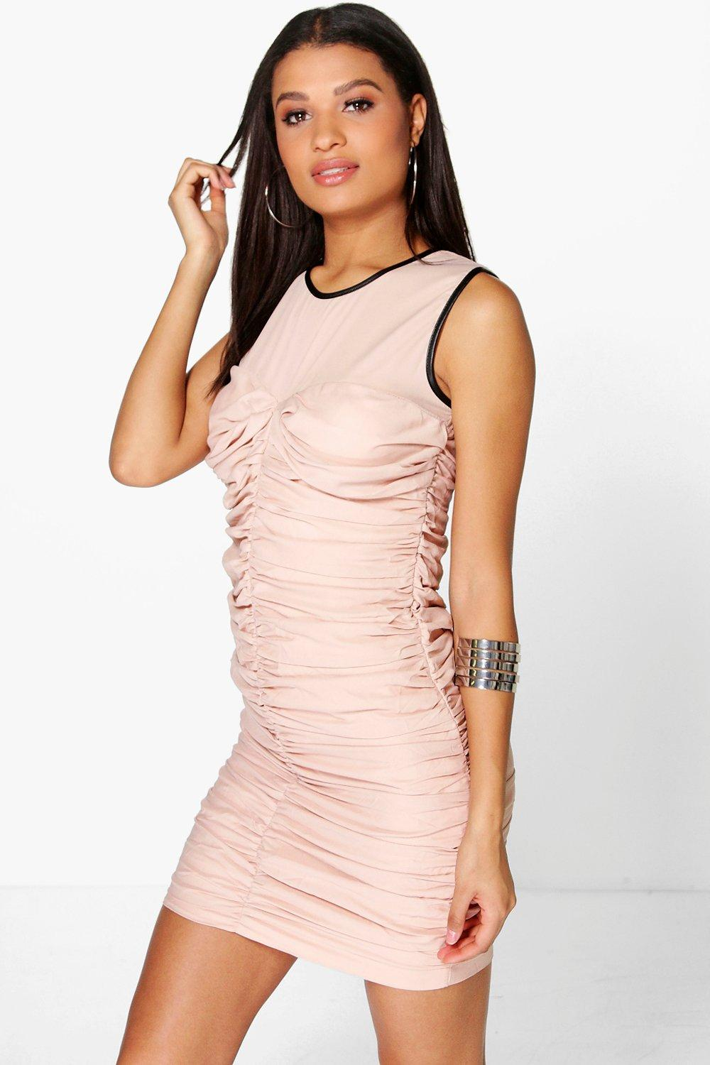 Anna Ruched Mesh Bodycon Dress