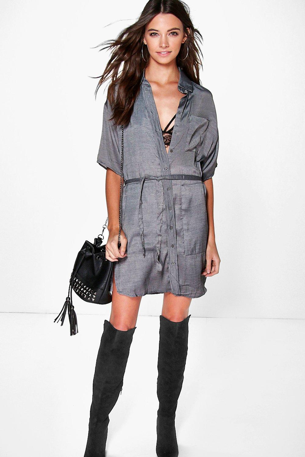 Jen Tie Waist Utility Shirt Dress