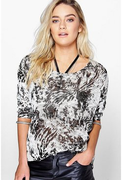 Julia Printed Round Neck Top