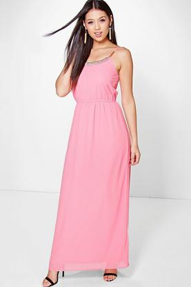 Ellie Embellished Neck Maxi Dress