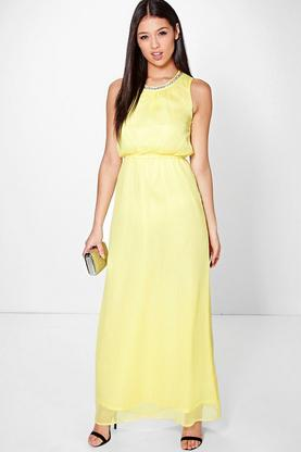 Megan Embellished Neck Maxi Dress
