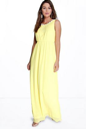Layla Jewelled Neck Maxi Dress