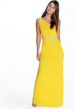 Imogen One Shoulder Embellished Maxi Dress
