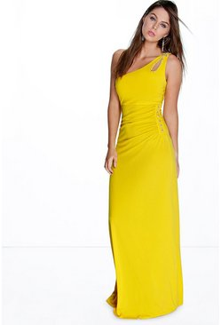 Eva One Shoulder Embellished Maxi Dress