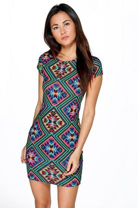 Orla Multi Print Cap Sleeve Bodycon Dress