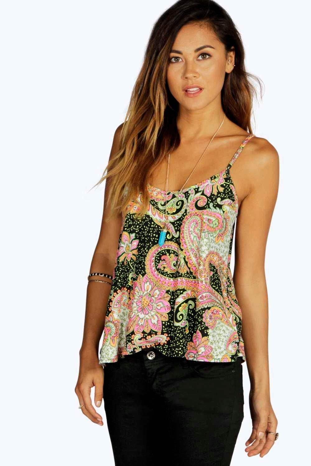 Printed Strappy Swing Top multi