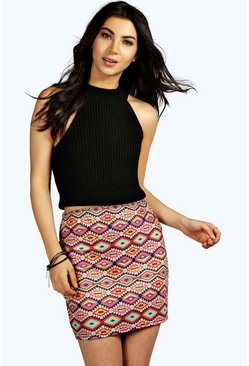 Alice Aztec Print Mini Skirt