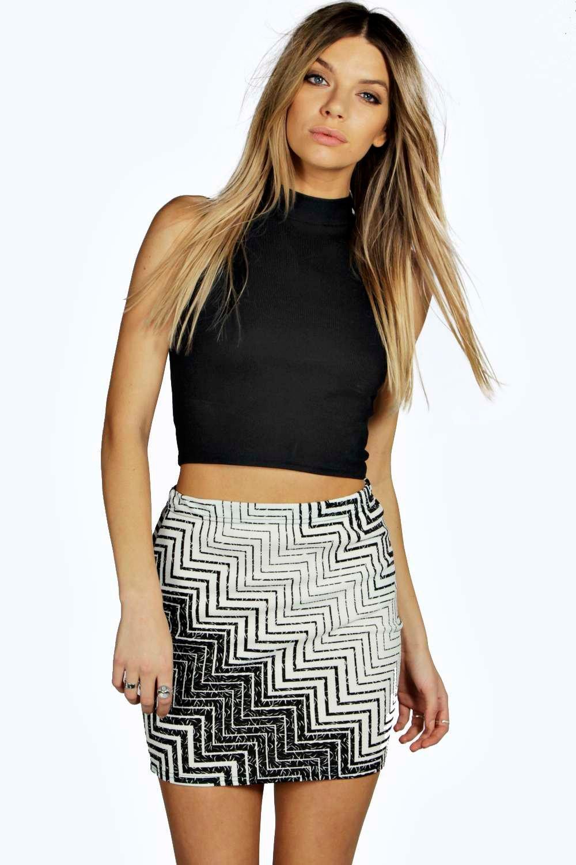 Chevron Mini Skirt black