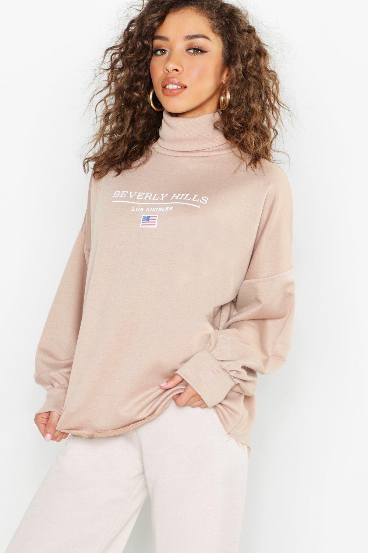"""Womens Oversized-Sweatshirt mit Rollkragen und """"Beverly Hills""""-Slogan - steingrau - 42, Steingrau - Boohoo.com"""