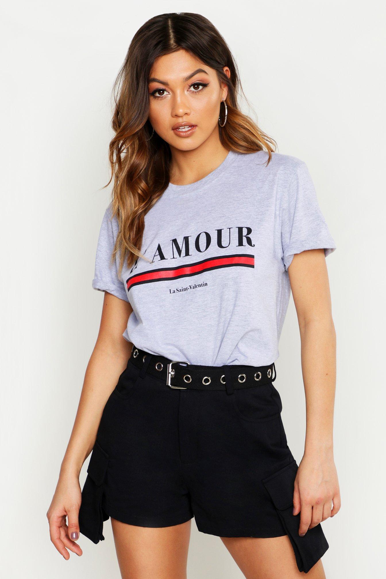 Womens T-Shirt mit L'amour Slogan - grey - M, Grey - Boohoo.com