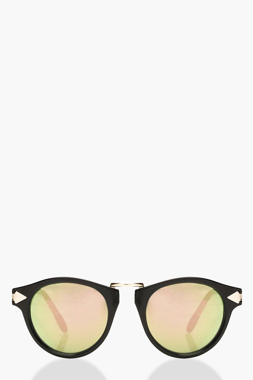Купить Солнечные очки, Круглые солнцезащитные очки с контрастной золотой оправой и зеркальными линзами, boohoo
