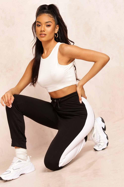 Womens Sweattrousers mit breitem Seitenstreifen - schwarz - 32, Schwarz - Boohoo.com