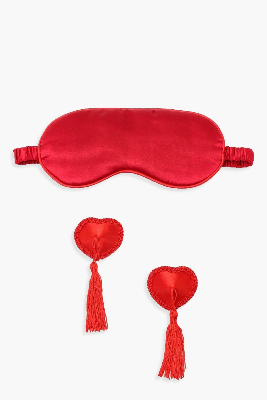 Купить Всё для красоты, Комплект: клейкие накладки для сосков с кисточками и маска для сна, boohoo