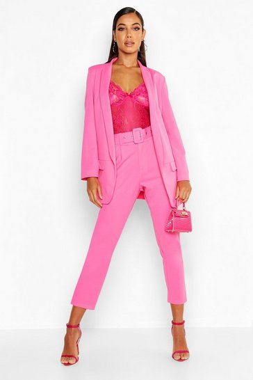 Hot pink Self Belt Tailored Trouser