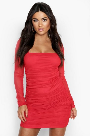 Red Square Neck Ruched Mesh Bodycon Dress
