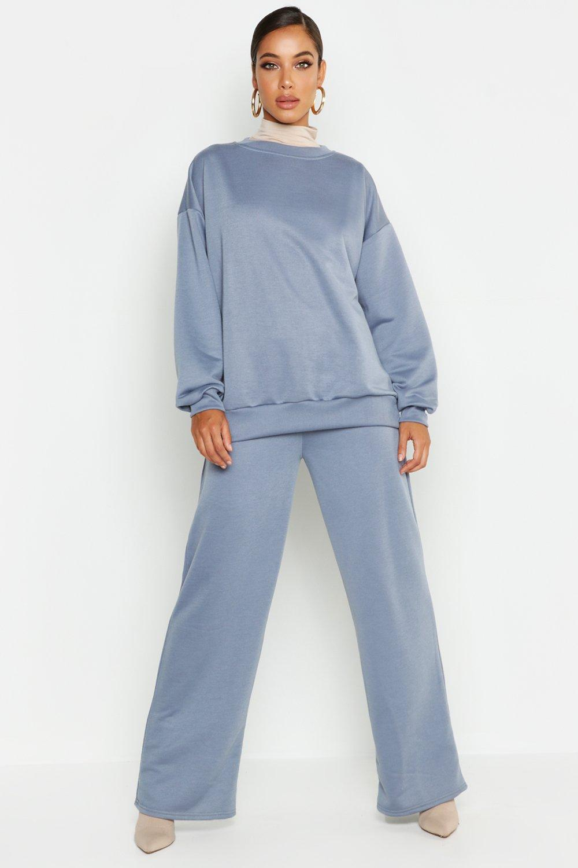Womens Sweatshirt mit Rundhalsausschnitt und weitem Bein - Petrol - 34, Petrol - Boohoo.com
