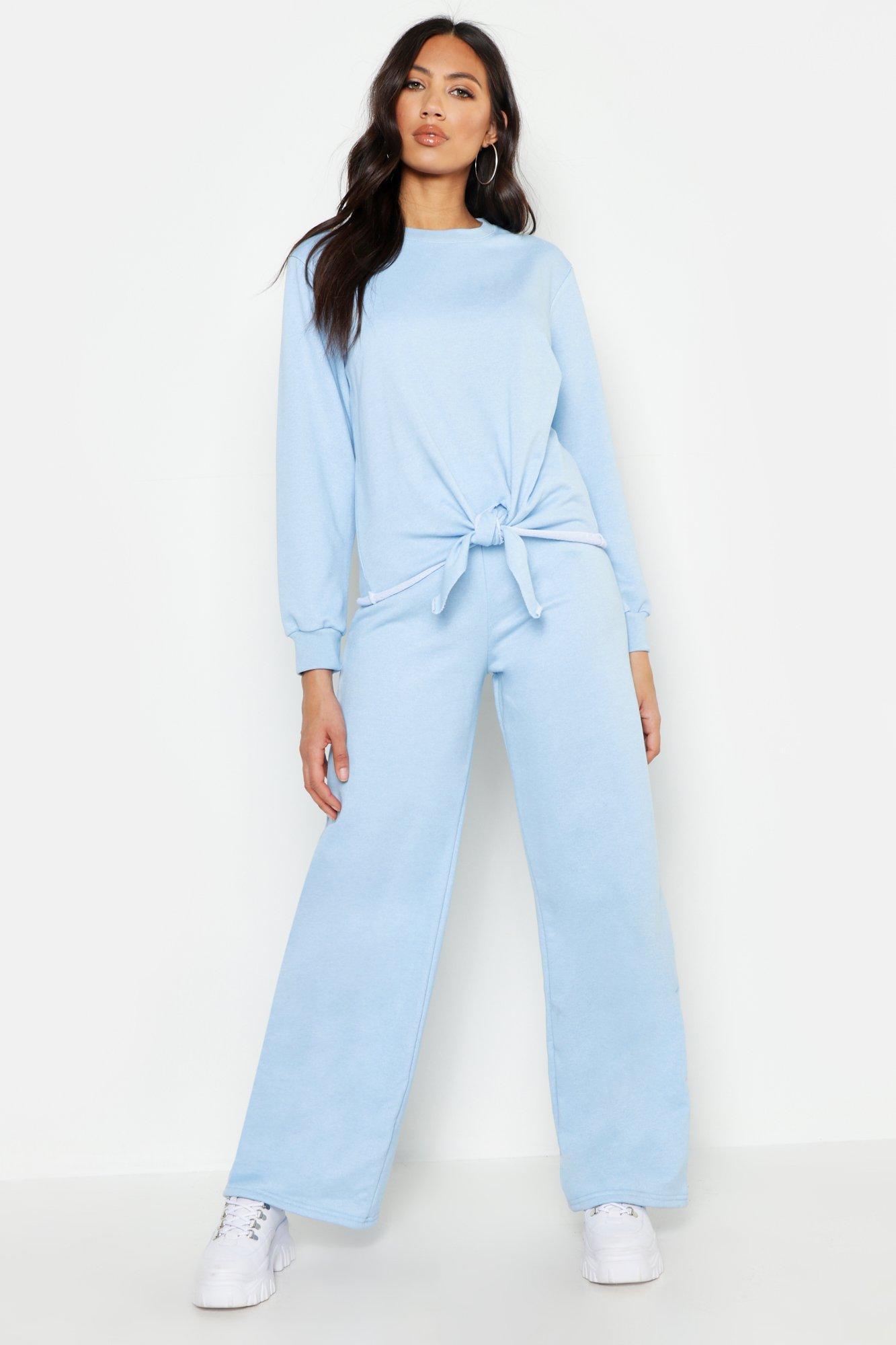 Womens Trainingsanzug mit weitem Bein und Zierknoten - himmelblau - 34, Himmelblau - Boohoo.com