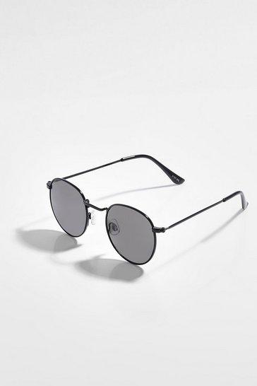 Black Flat Lens Round Sunglasses