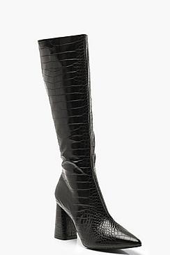 Croc Knee High Block Heel Boots