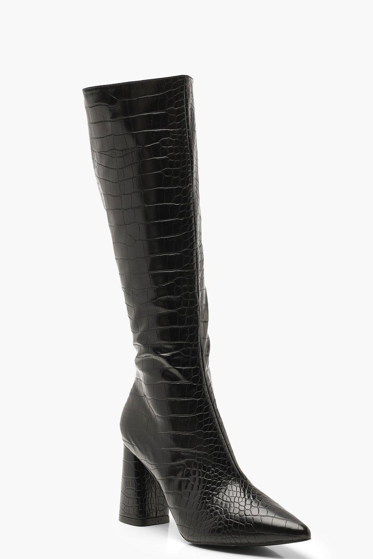 Knee High Boots Croc Knee High Block Heel Boots