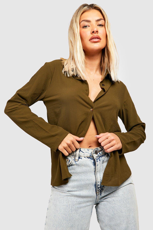 Womens Hemd aus Webmaterial - khaki - 34, Khaki - Boohoo.com