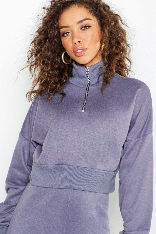 Womens Kurzes Sweatshirt mit Trichterkragen und Reißverschluss - Petrol - 40, Petrol - Boohoo.com