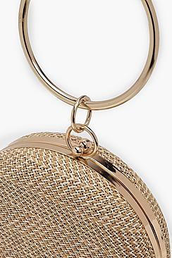 Raffia Straw Ring Handle Round Clutch