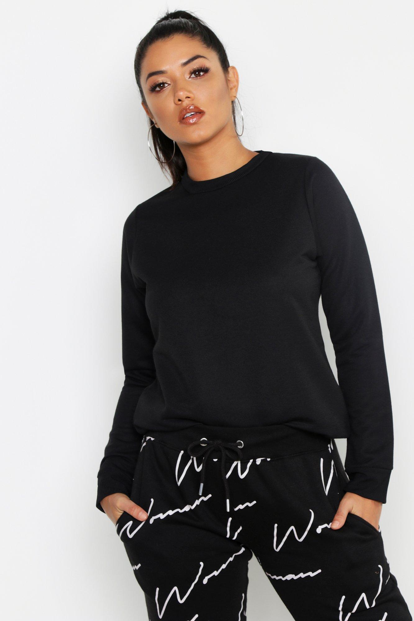 Womens Schlichtes Sweatshirt mit Rundhalsausschnitt - schwarz - 36, Schwarz - Boohoo.com
