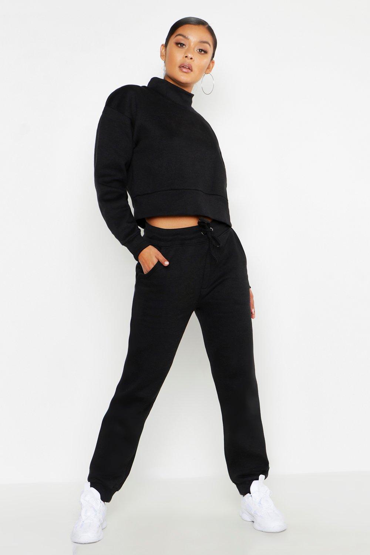 Womens Kurzer jumper-Trainingsanzug mit Trichterkragen - schwarz - 40, Schwarz - Boohoo.com