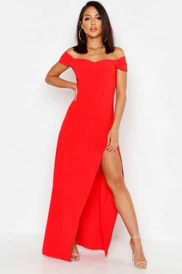 Red Off The Shoulder Maxi Dress