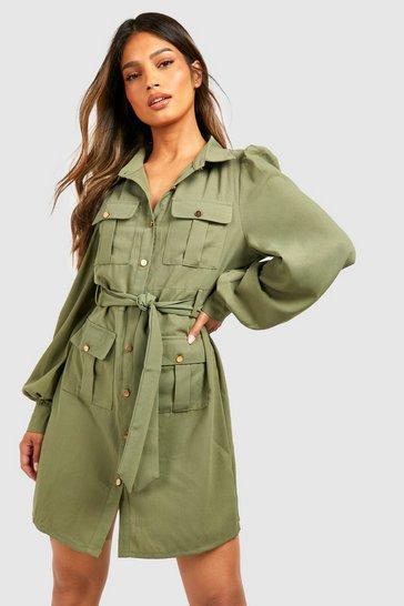 Khaki Utility Pocket Detail Shirt Dress