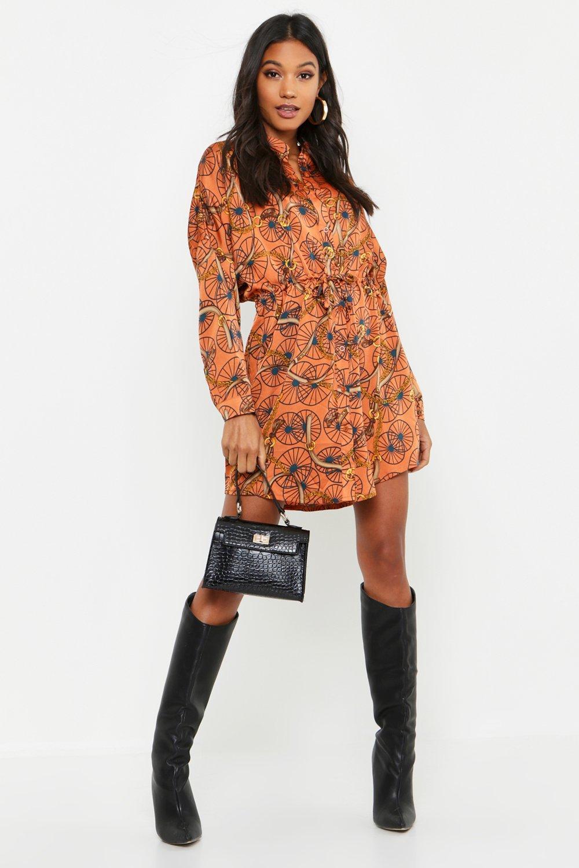 Womens Luxe Blusenkleid mit Barockmuster - Zimt - 40, Zimt - Boohoo.com