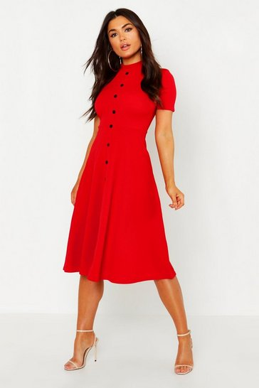 Red High Neck Button Detail Skater Dress