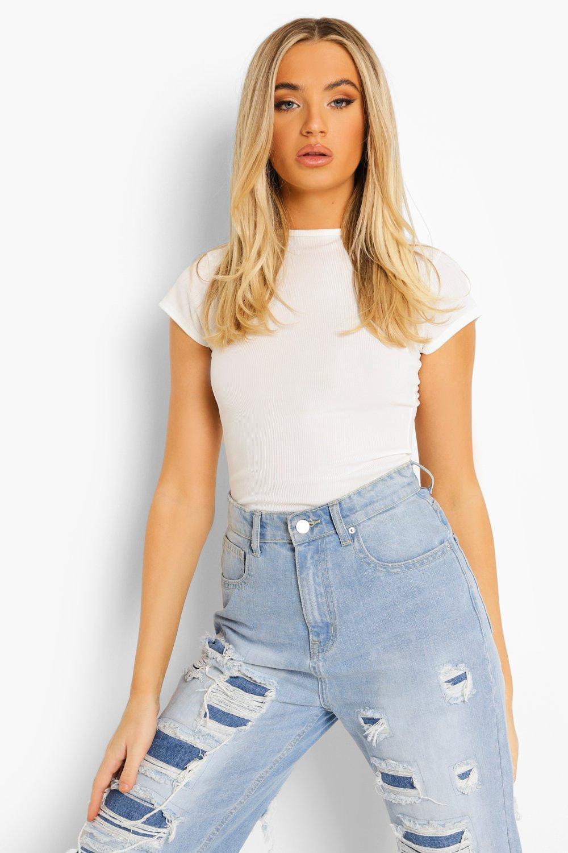 Womens Basic gerippter Bodysuit mit überschnittenen Schultern - Weiß - 40, Weiß - Boohoo.com