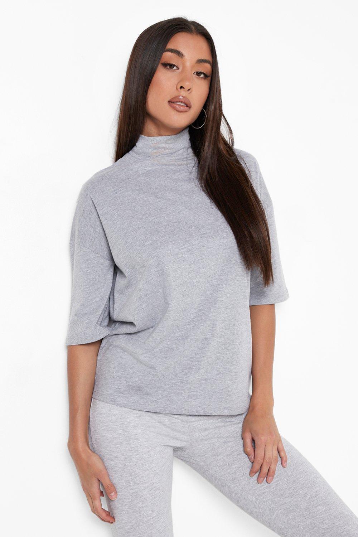 Basic Oversized High Neck 3/4 Sleeve T-Shirt