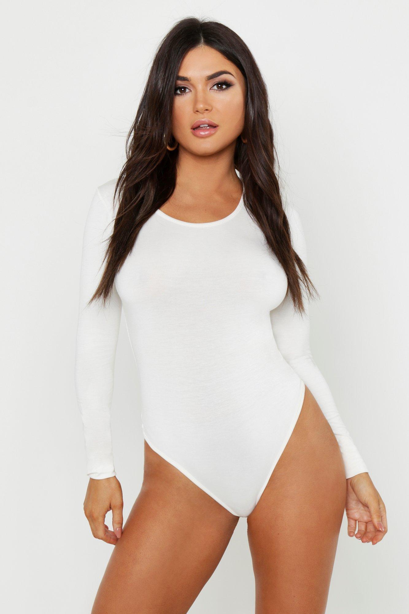 Womens Premium Basic langärmeliger Bodysuit mit U-Ausschnitt - Naturfarben - 38, Naturfarben - Boohoo.com
