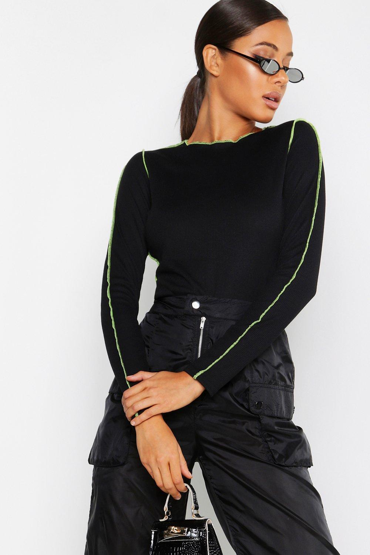 Womens Gerippter Bodysuit mit Neon-Besatz - schwarz - 32, Schwarz - Boohoo.com