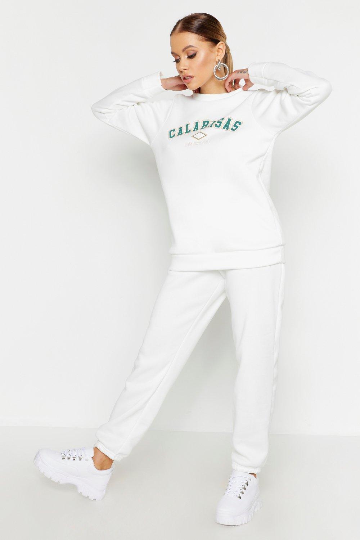 Womens Calabasas Jogginghosen - ivory - 36, Ivory - Boohoo.com