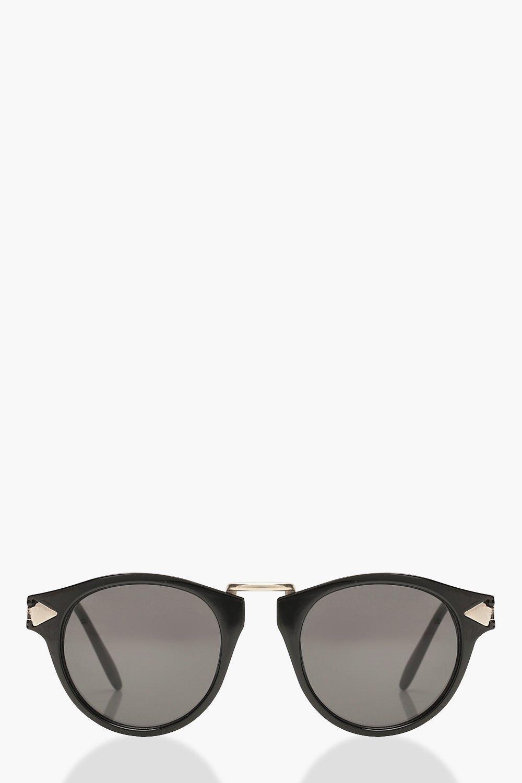 Купить Солнечные очки, Круглые солнцезащитные очки с контрастной золотой оправой, boohoo